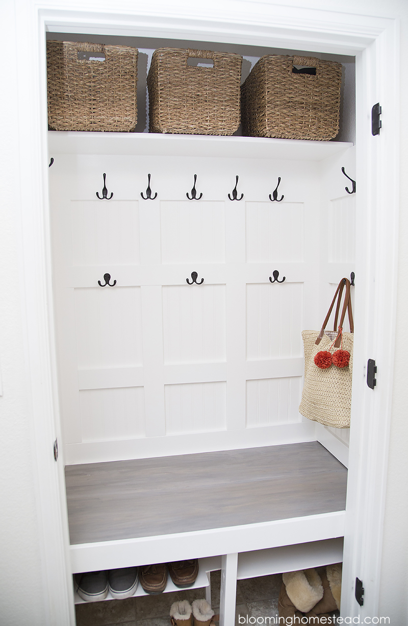Mudroom closet makeover at Blooming Homestead