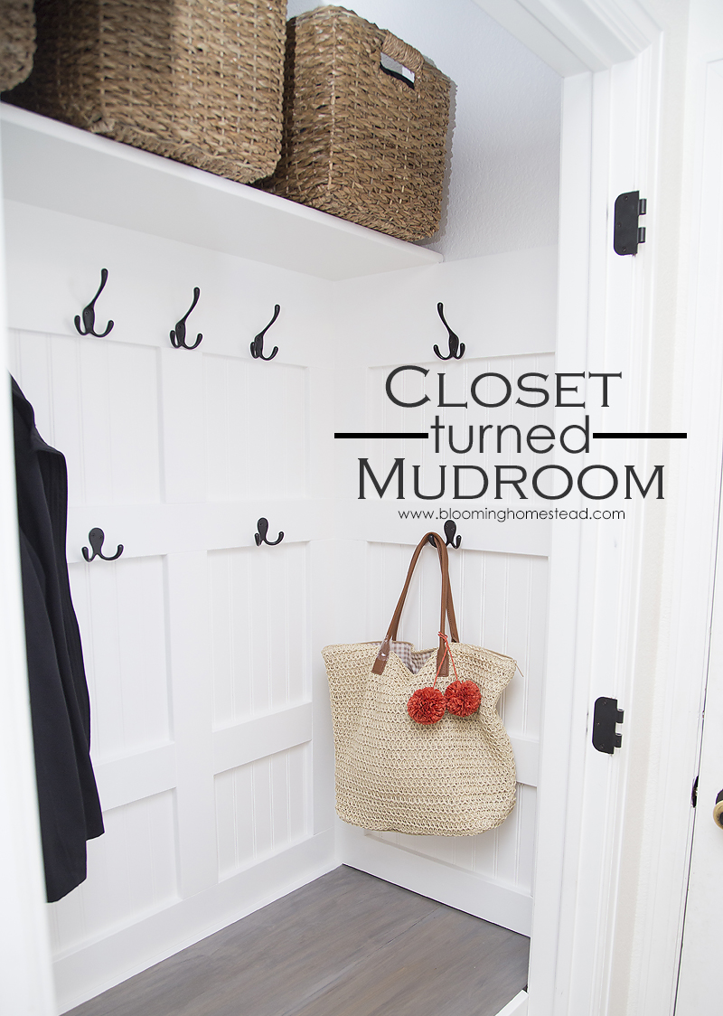 Turn that cluttered closet and turn it into a functional and beautiful mudroom to keep your home organized