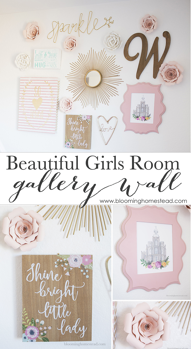 Beautiful Pink and Gold Gallery Wall with Rustic Accents, perfect for a girls room