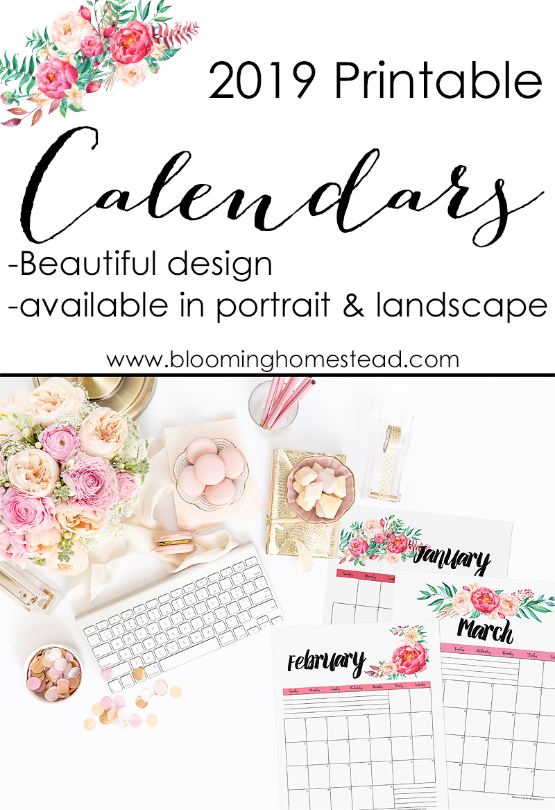 2019 Printable calendars by Blooming Homestead